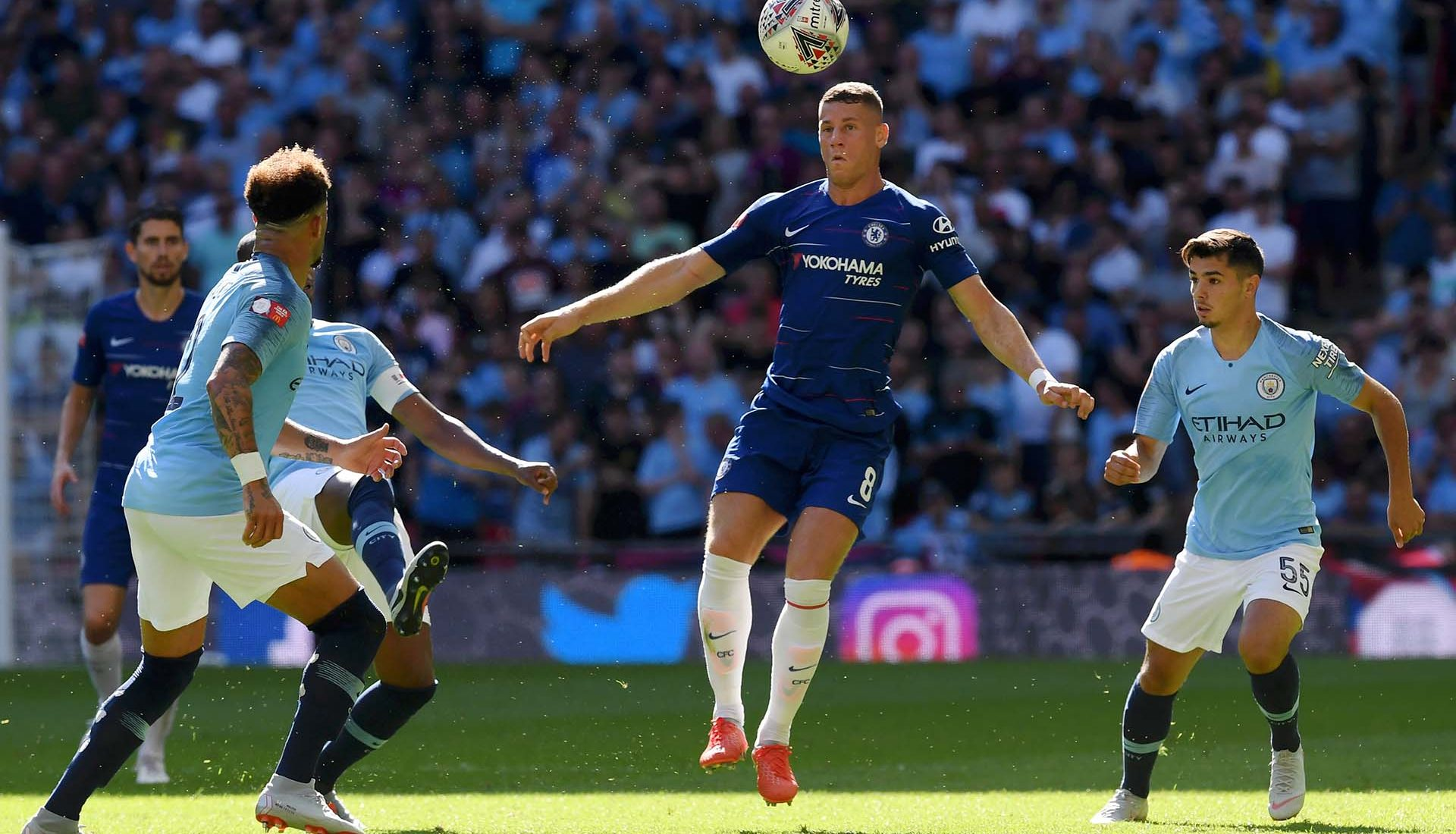 Ross Barkley heads the ball during the FA Community Shield between Manchester City and Chelsea at Wembley Stadium on August 5, 2018 in London.