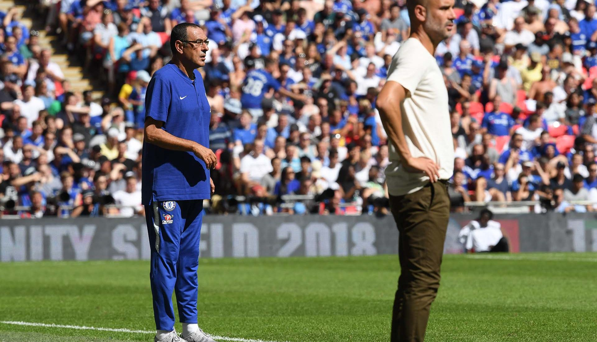 Maurizio Sarri, Head Coach of Chelsea looks on during the FA Community Shield between Manchester City and Chelsea at Wembley Stadium on August 5, 2018 in London.