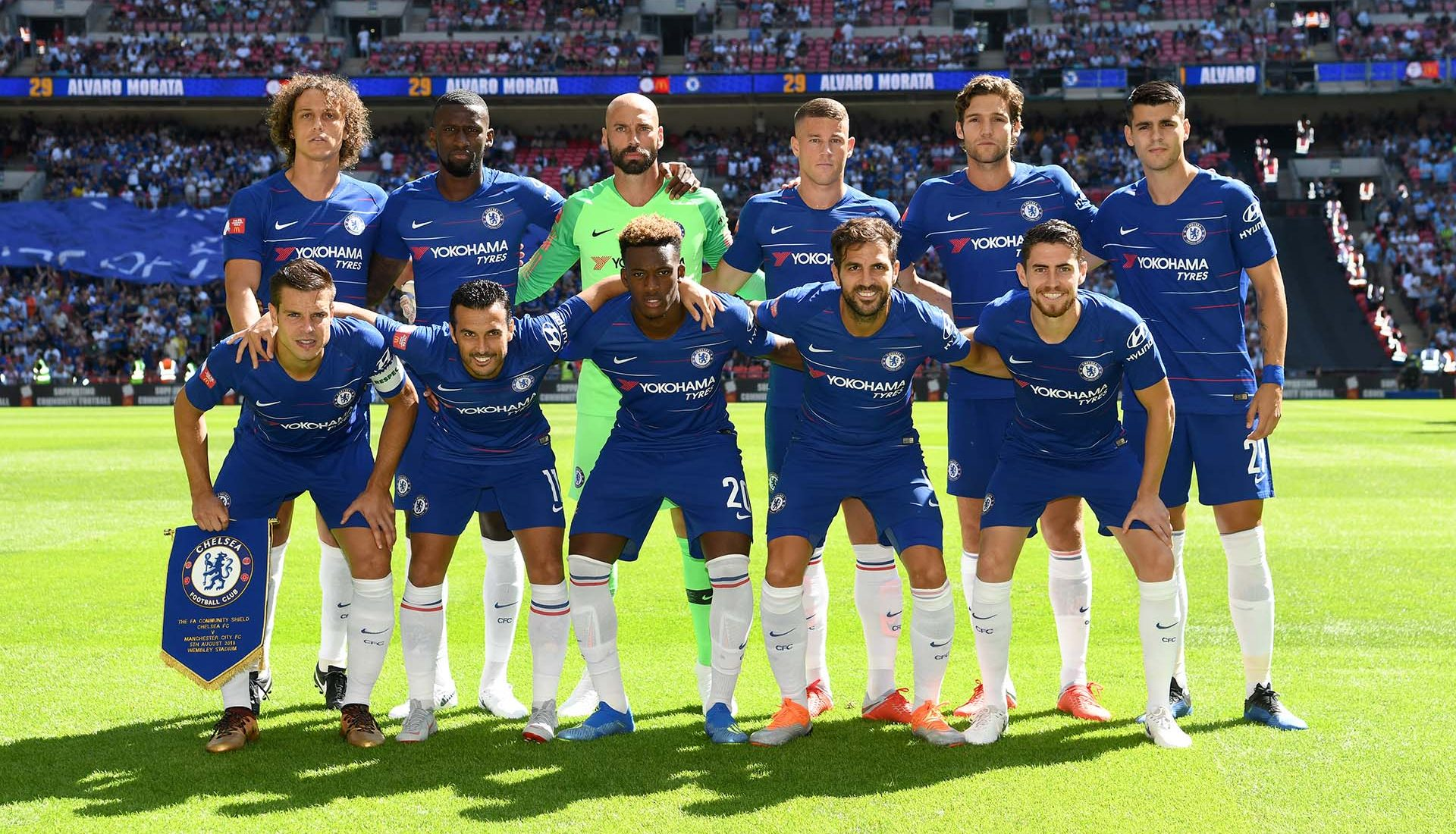 The Chelsea players pose for a team photo prior to the FA Community Shield between Manchester City and Chelsea at Wembley Stadium on August 5, 2018 in London.
