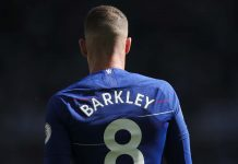 Ross Barkley during the Premier League match between Newcastle United and Chelsea at St. James Park on May 13, 2018 in Newcastle upon Tyne.