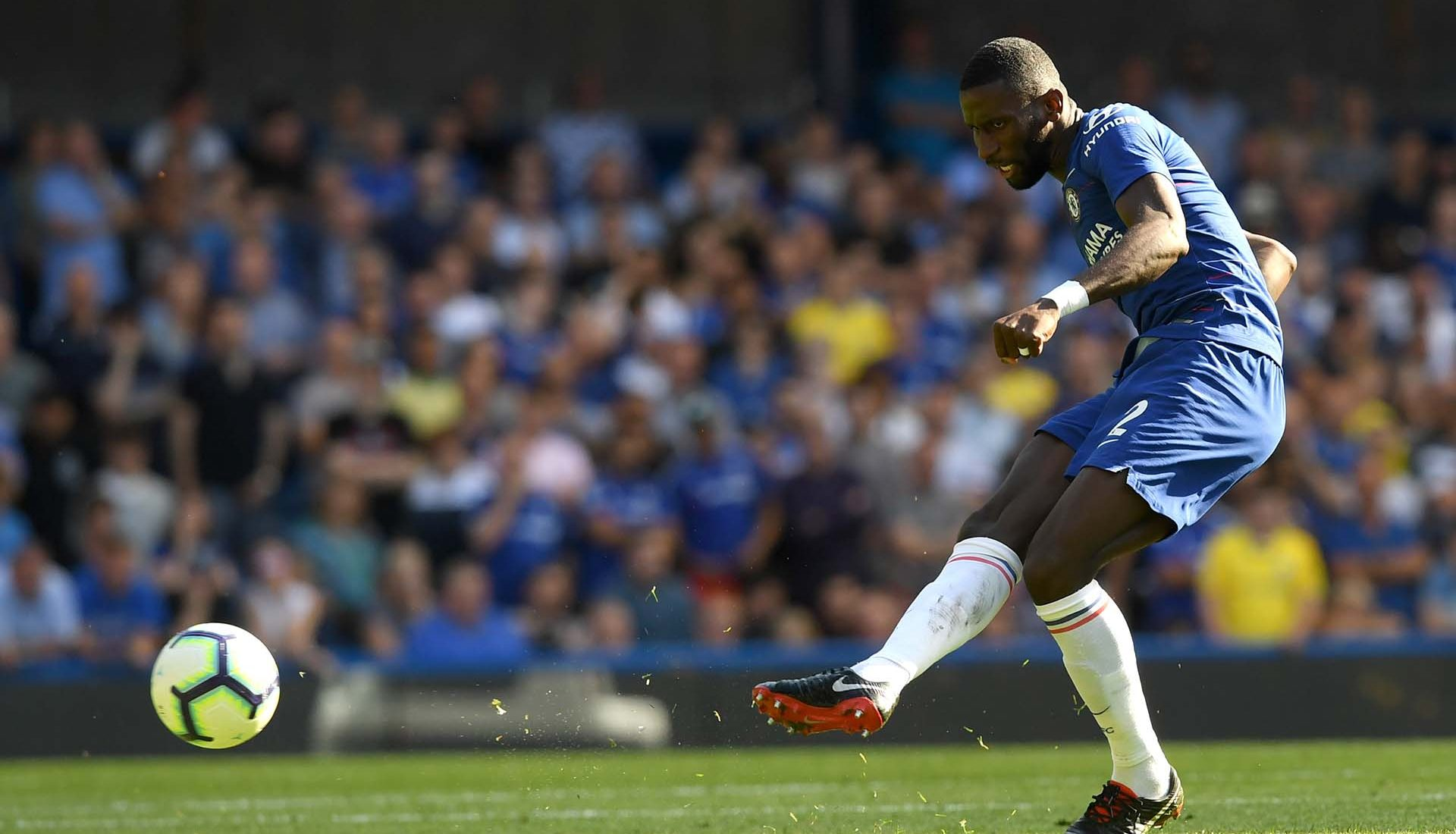 Antonio Rudiger passes the ball during the Premier League match between Chelsea FC and AFC Bournemouth at Stamford Bridge on September 1, 2018 in London.