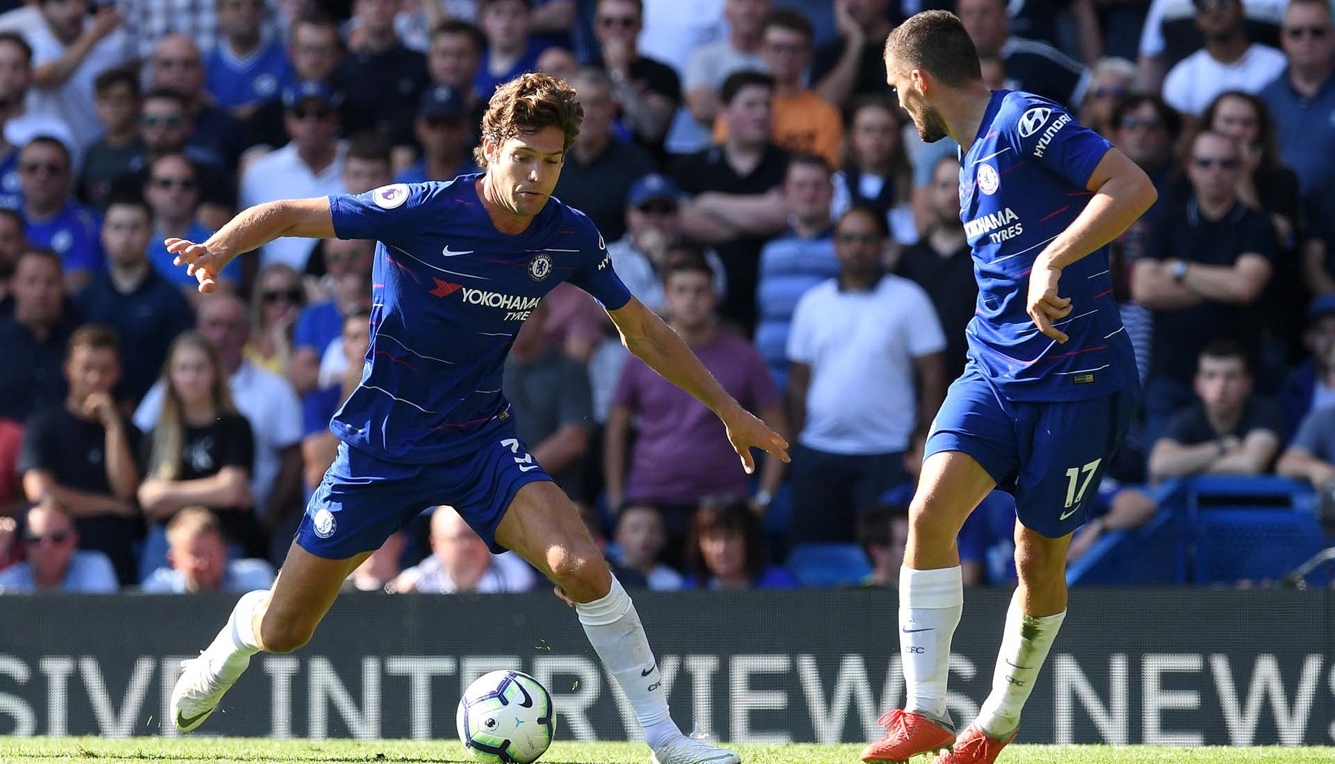 Marcos Alonso controls the ball during the Premier League match between Chelsea FC and AFC Bournemouth at Stamford Bridge on September 1, 2018 in London.