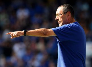 Maurizio Sarri, reacts during the Premier League match between Chelsea FC and AFC Bournemouth at Stamford Bridge on September 1, 2018 in London.
