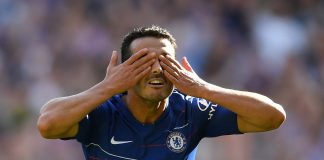 Pedro celebrates after scoring his team's first goal during the Premier League match between Chelsea FC and AFC Bournemouth at Stamford Bridge on September 1, 2018 in London.