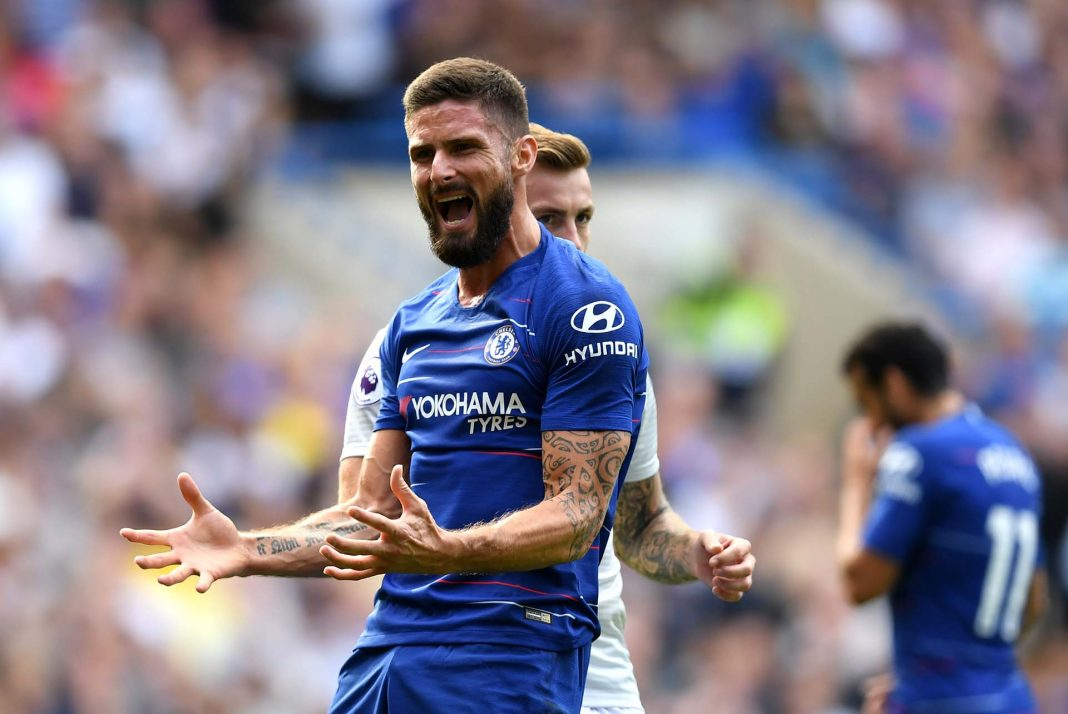 Olivier Giroud reacts during the Premier League match between Chelsea FC and Cardiff City at Stamford Bridge on September 15, 2018 in London.