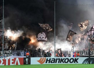 The PAOK fans let off flares prior to the UEFA Europa League Group L match between PAOK and Chelsea at Toumba Stadium on September 20, 2018 in Thessaloniki, Greece.