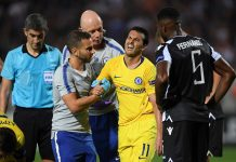 Pedro receives medical treatment during the UEFA Europa League Group L match between PAOK and Chelsea at Toumba Stadium on September 20, 2018 in Thessaloniki, Greece.
