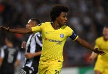 Willian celebrates after scoring his team's first goal during the UEFA Europa League Group L match between PAOK and Chelsea at Toumba Stadium on September 20, 2018 in Thessaloniki, Greece.