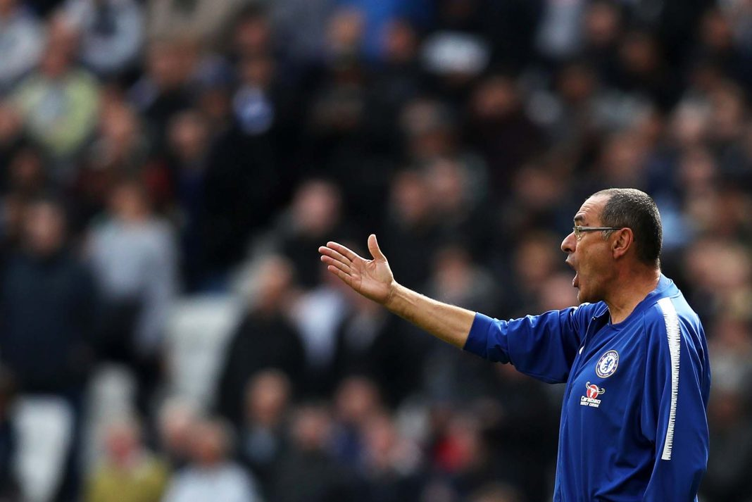 Maurizio Sarri gives his team instructions during the Premier League match between West Ham United and Chelsea FC at London Stadium on September 23, 2018 in London.