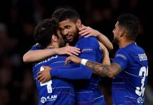 Ruben Loftus-Cheek of celebrates with team mates after scoring his hat-trick goal during the UEFA Europa League Group L match between Chelsea and FC BATE Borisov at Stamford Bridge on October 25, 2018 in London.