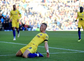 Ross Barkley celebrates scoring his goal during the Premier League match between Burnley FC and Chelsea FC at Turf Moor on October 28, 2018 in Burnley.