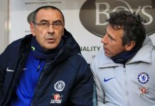 Maurizio Sarri speaks with Gianfranco Zola prior to the Premier League match between Burnley FC and Chelsea FC at Turf Moor on October 28, 2018 in Burnley.