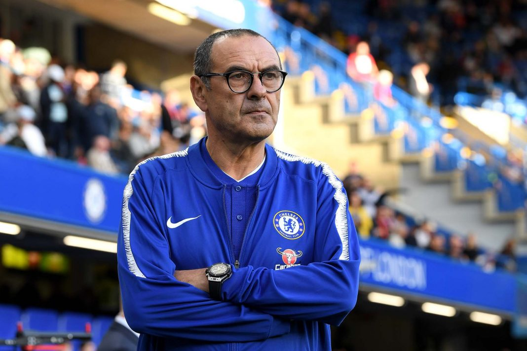 Maurizio Sarri, looks on ahead of the Premier League match between Chelsea FC and Liverpool FC at Stamford Bridge on September 29, 2018 in London.