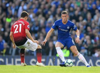 Ross Barkley controls the ball during the Premier League match between Chelsea FC and Manchester United at Stamford Bridge on October 20, 2018 in London.