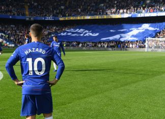Eden Hazard looks on ahead of the Premier League match between Chelsea FC and Manchester United at Stamford Bridge on October 20, 2018 in London.