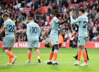 Alvaro Morata celebrates with teammate Antonio Ruediger after scoring his team's third goal during the Premier League match between Southampton FC and Chelsea FC at St Mary's Stadium on October 7, 2018 in Southampton.