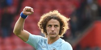 David Luiz reacts after his team's victory in the Premier League match between Southampton FC and Chelsea FC at St Mary's Stadium on October 7, 2018 in Southampton.