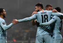 Olivier Giroud celebrates after scoring his team's first goal with Eden Hazard and team mates during the UEFA Europa League Group L match between FC BATE and Chelsea at Borisov-Arena on November 8, 2018 in Barysaw, Belarus.