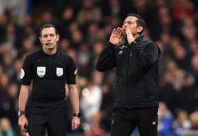 Frank Lampard, Manager of Derby County gives his team instructions during the Carabao Cup Fourth Round match between Chelsea and Derby County at Stamford Bridge on October 31, 2018 in London.