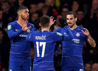 Davide Zappacosta celebrates his sides second goal with Ruben Loftus-Cheek of Chelsea and Mateo Kovacic of Chelsea during the Carabao Cup Fourth Round match between Chelsea and Derby County at Stamford Bridge on October 31, 2018 in London.