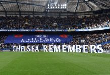 Chelsea fans remember Armistice Day prior to the Premier League match between Chelsea FC and Everton FC at Stamford Bridge on November 11, 2018 in London.