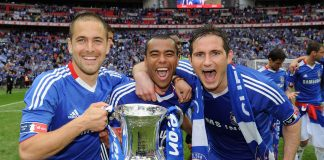 Joe Cole, Ashley Cole and Frank Lampard of Chelsea celebrate winning the FA Cup sponsored by E.ON Final match between Chelsea and Portsmouth at Wembley Stadium on May 15, 2010 in London, England.