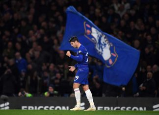 Alvaro Morata celebrates after scoring his team's second goal during the Premier League match between Chelsea FC and Crystal Palace at Stamford Bridge on November 4, 2018 in London.