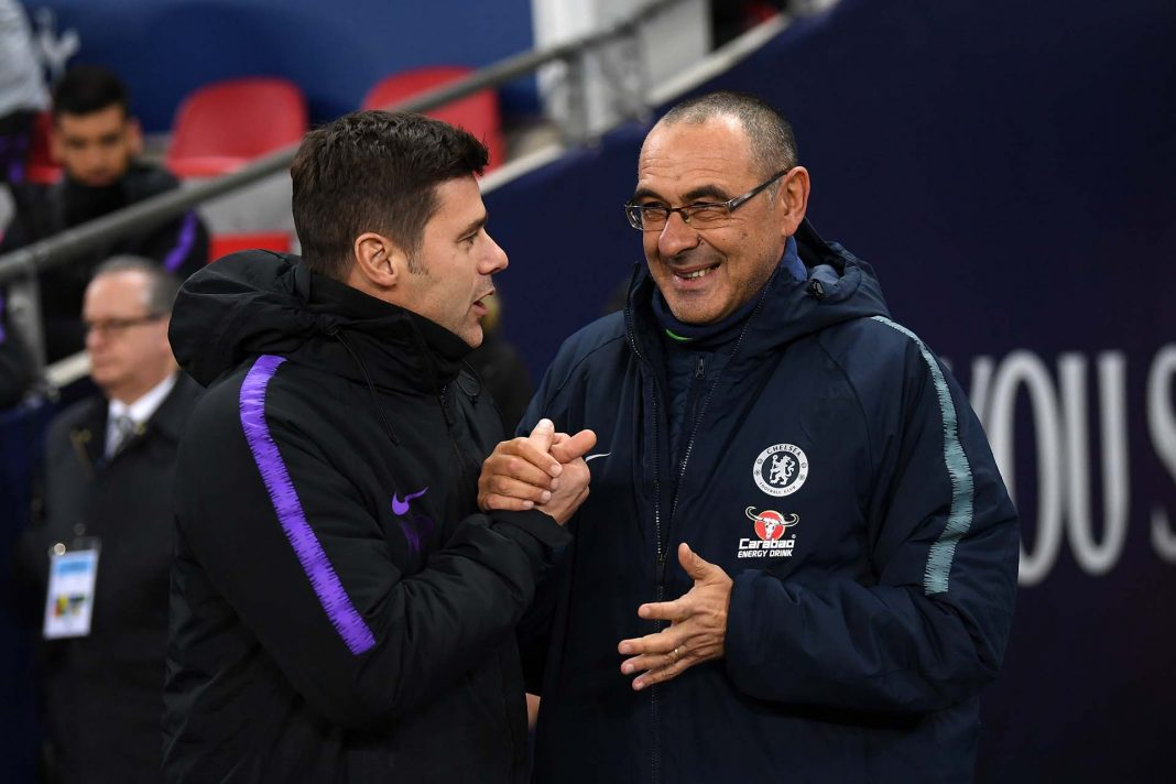 Mauricio Pochettino, Manager of Tottenham Hotspur and Maurizio Sarri, Manager of Chelsea shake hands prior to the Premier League match between Tottenham Hotspur and Chelsea FC at Tottenham Hotspur Stadium on November 24, 2018 in London.