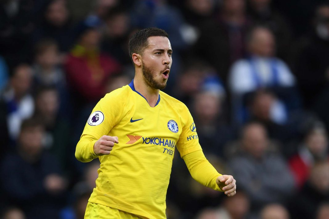Eden Hazard of celebrates after scoring his goal during the Premier League match between Brighton and Chelsea.