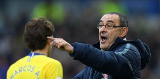 Maurizio Sarri, Manager of Chelsea gives his team instructions during the Premier League match between Brighton and Chelsea.