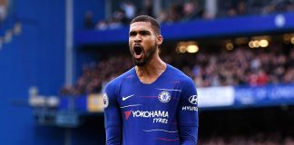 Ruben Loftus-Cheek celebrates after scoring his team's second goal during the Premier League match between Chelsea FC and Fulham FC at Stamford Bridge on December 2, 2018 in London.