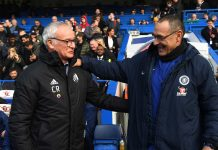 Maurizio Sarri, Manager and Claudio Ranieri, Manager of Fulham embrace prior to the Premier League match between Chelsea FC and Fulham FC at Stamford Bridge on December 1, 2018 in London.