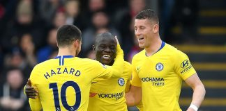 N'golo Kante celebrates after scoring his team's first goal with Ross Barkley and Eden Hazard during the Premier League match between Crystal Palace and Chelsea FC at Selhurst Park on December 30, 2018 in London.