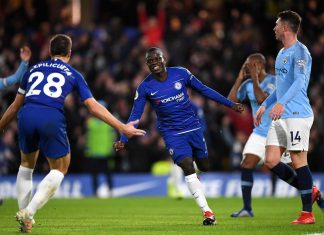 N'golo Kante celebrates after scoring his team'sfirst goal during the Premier League match between Chelsea FC and Manchester City at Stamford Bridge on December 8, 2018 in London.