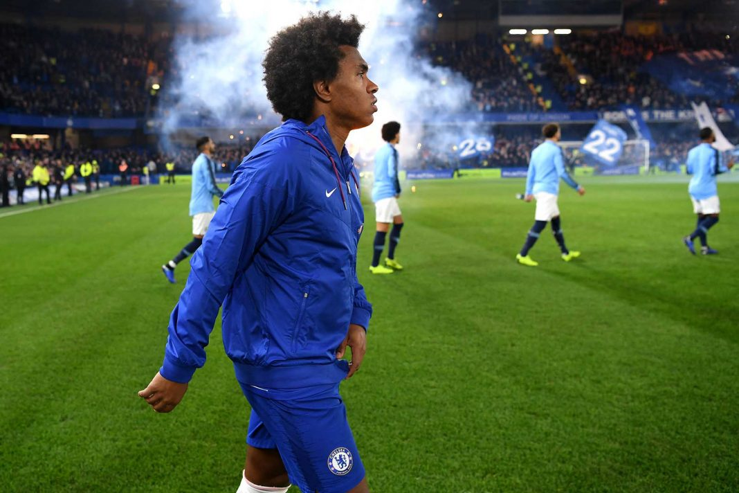 Willian walks onto the pitch prior to the Premier League match between Chelsea FC and Manchester City at Stamford Bridge on December 8, 2018 in London.