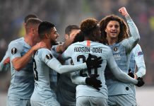Ross Barkley, Emerson Palmieri, Callum Hudson-Odoi and Ethan Ampadu all of celebrate after Willian scored their sides first goal during the UEFA Europa League Group L match between Vidi FC and Chelsea at Groupama Arena on December 13, 2018 in Szekesfehervar, Hungary.