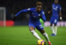 Callum Hudson-Odoi of Chelsea in action during the Premier League match between Watford FC and Chelsea FC at Vicarage Road on December 26, 2018 in Watford.