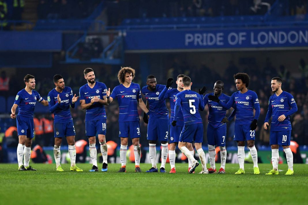Jorginho celebrates after scoring his penalty in the shootout during the Carabao Cup Semi-Final Second Leg match between Chelsea and Tottenham Hotspur at Stamford Bridge on January 24, 2019 in London.