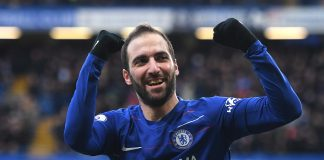 Gonzalo Higuain of Chelsea celebrates after scoring his team's first goal during the Premier League match between Chelsea FC and Huddersfield Town at Stamford Bridge on February 2, 2019 in London.