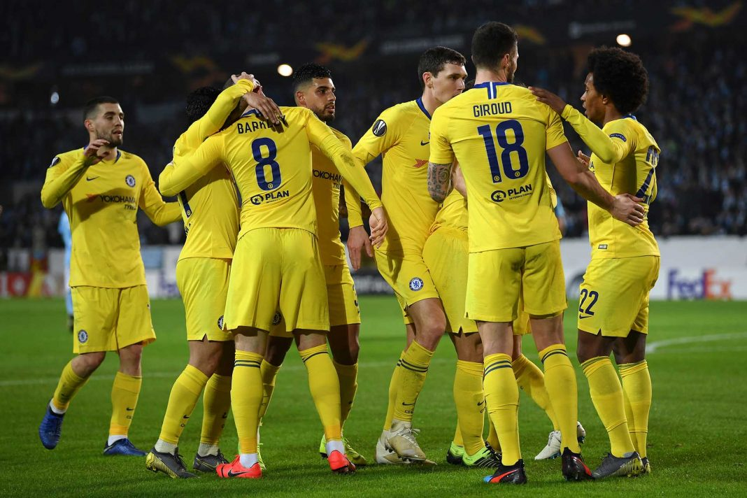 Ross Barkley celebrates with his teammates after scoring his sides first goal during the UEFA Europa League Round of 32 First Leg match between Malmo FF and Chelsea at Malmoe Stadion on February 14, 2019 in Malmo, Sweden.