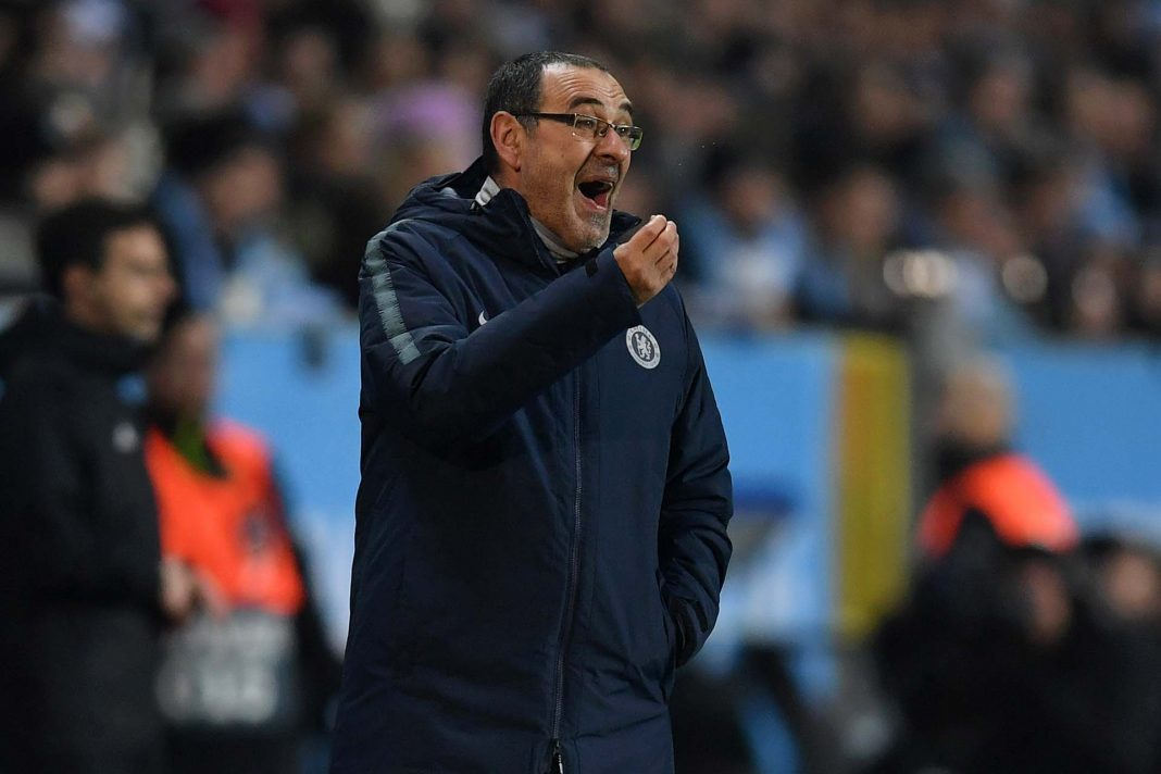 Maurizio Sarri, gives his team instructions during the UEFA Europa League Round of 32 First Leg match between Malmo FF and Chelsea at Malmoe Stadion on February 14, 2019 in Malmo, Sweden.