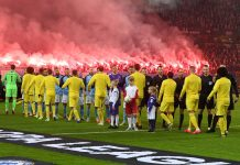 Both teams shake hands ahead of the UEFA Europa League Round of 32 First Leg match between Malmo FF and Chelsea at Malmoe Stadion on February 14, 2019 in Malmo, Sweden.