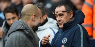 Maurizio Sarri, Manager of Chelsea speaks to Josep Guardiola, Manager of Manchester City prior to the Premier League match between Manchester City and Chelsea FC at Etihad Stadium on February 10, 2019 in Manchester.
