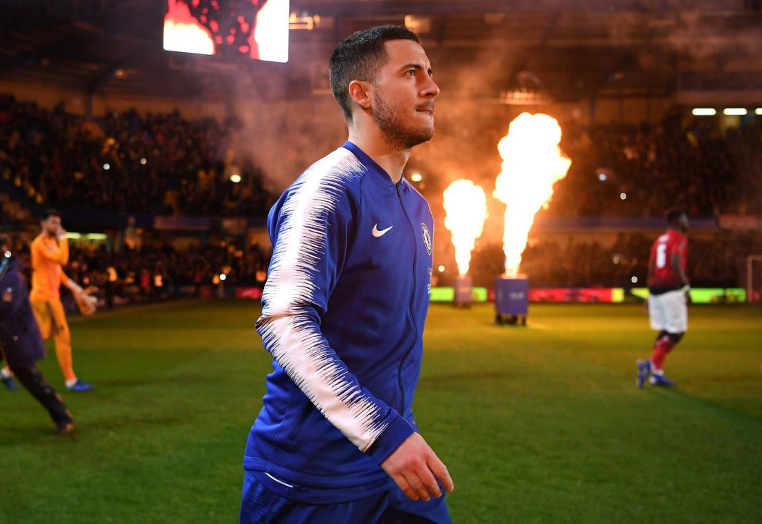 Eden Hazard walks out prior to the FA Cup Fifth Round match between Chelsea and Manchester United at Stamford Bridge on February 18, 2019 in London.