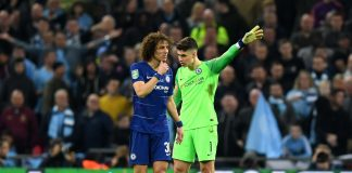 Kepa Arrizabalaga of Chelsea refuses to be substituted during the Carabao Cup Final between Chelsea and Manchester City at Wembley Stadium on February 24, 2019 in London.