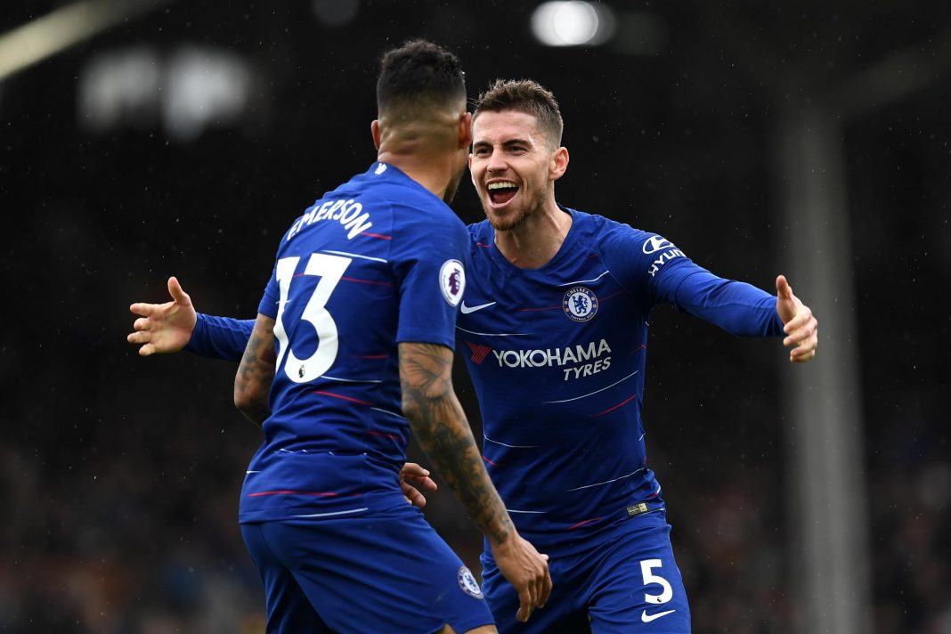 Jorginho celebrates after scoring during the Premier League match between Fulham FC and Chelsea FC at Craven Cottage on March 03, 2019 in London.