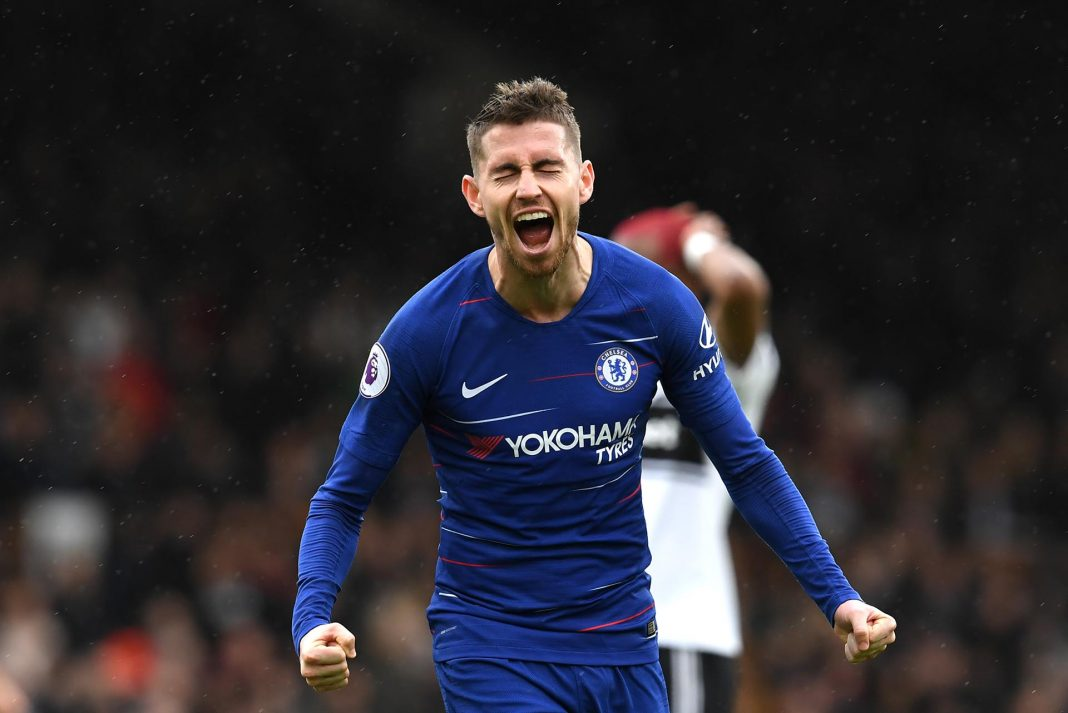 Jorginho celebrates after scoring his sides second goal during the Premier League match between Fulham FC and Chelsea FC at Craven Cottage on March 03, 2019 in London.