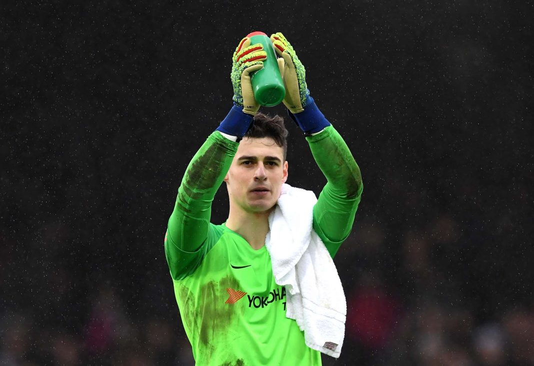 Kepa Arrizabalaga of applauds fans after the match during the Premier League match between Fulham FC and Chelsea FC at Craven Cottage on March 03, 2019 in London.