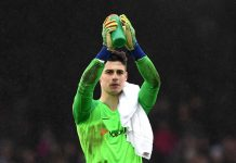 Kepa Arrizabalaga applauds fans after the match during the Premier League match between Fulham FC and Chelsea FC at Craven Cottage on March 03, 2019 in London.