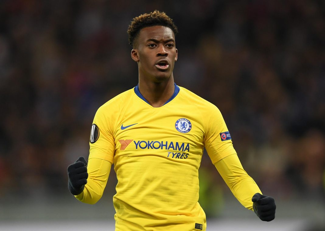 Callum Hudson-Odoi celebrates after scoring his team's fifth goal during the UEFA Europa League Round of 16 Second Leg match between Dynamo Kyiv and Chelsea at NSC Olimpiyskiy Stadium on March 14, 2019 in Kiev, Ukraine.